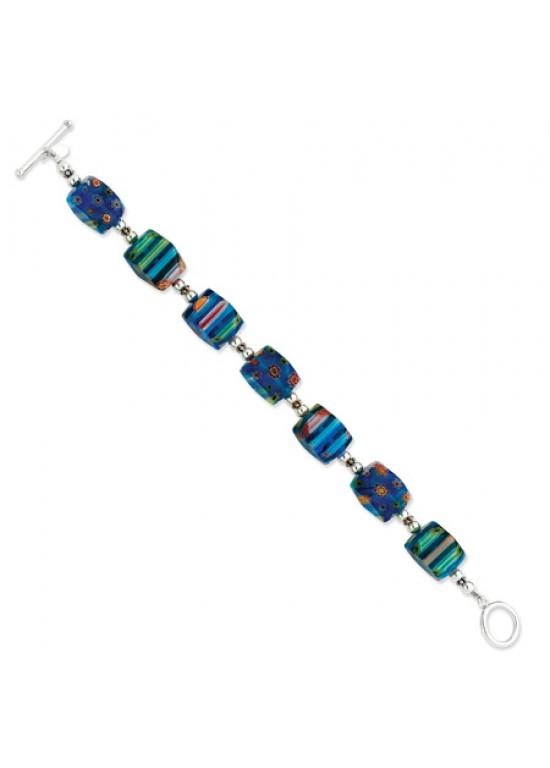 Blue Sterling Silver Kung Sei Bead Bracelet (QG-QH2134-8)