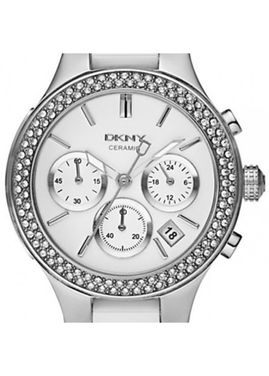 DKNY White Ceramic And Stainless Steel Chronograph Ladies Watch NY8181-dial