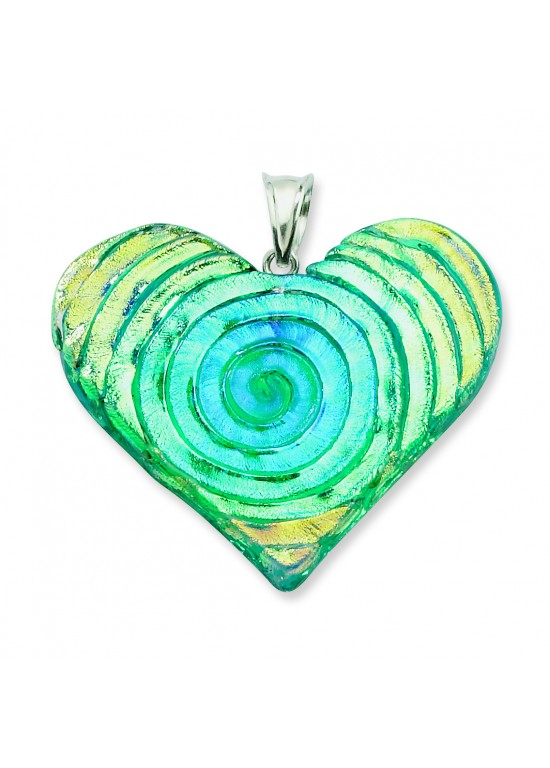 Multicolor Dichroic Glass Heart Pendant in Sterling Silver (QK-QC6587)