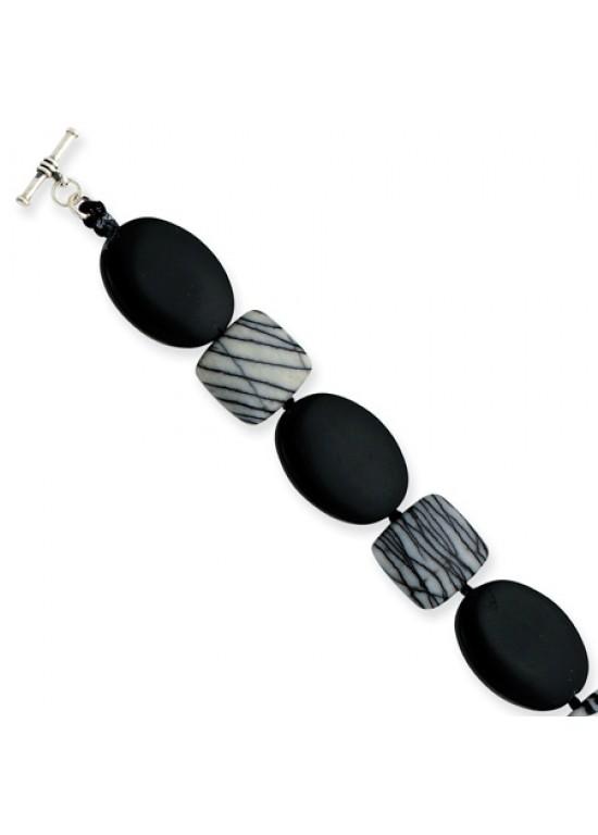 Black Sterling Silver Black Agate & Zebra Jasper Bracelet