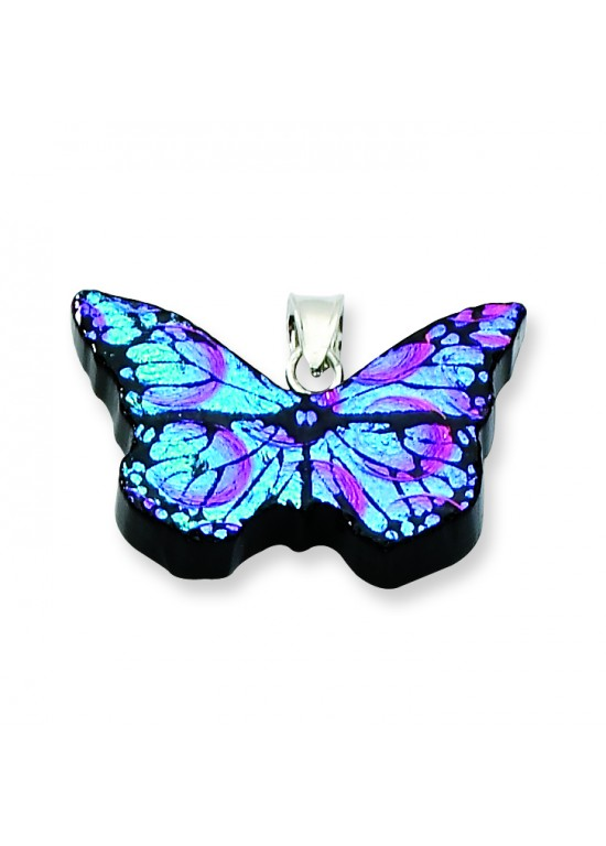 Blue Dichroic Glass Butterfly Pendant in Sterling Silver (QK-QC6585)