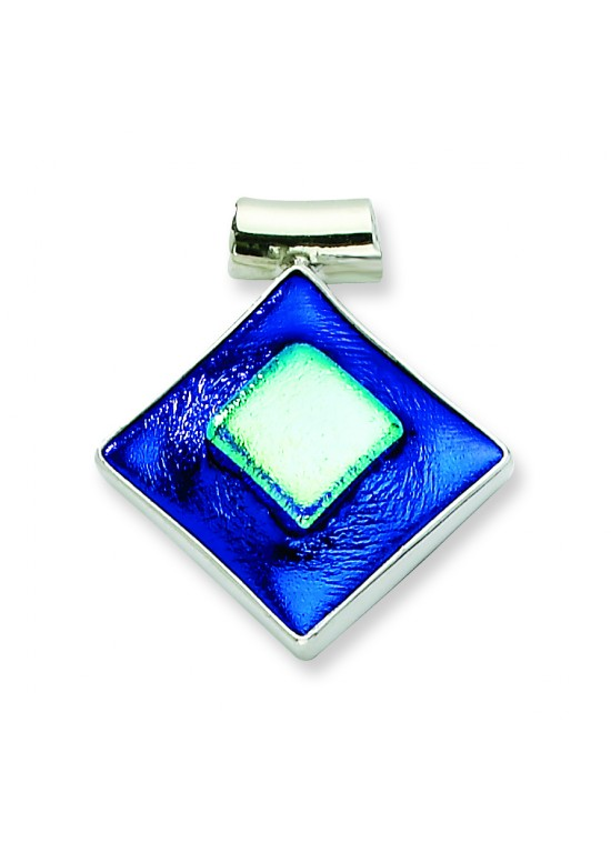 Blue Dichroic Glass Diamond Pendant in Sterling Silver (QK-QC6591)