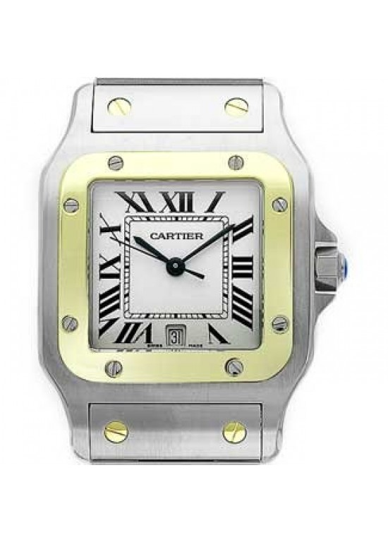 Cartier Santos Stainless Steel with 18kt Gold Mens Watch - W20011C4-Dial