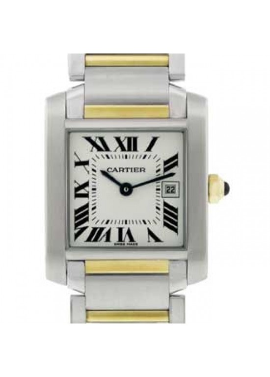 Cartier Tank Stainless Steel with 18kt Gold Ladies Watch - W51012Q4-dial