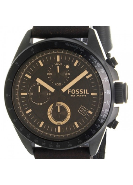 Fossil Decker Black Ion-plated Stainless Steel Mens Watch - CH2704-dial