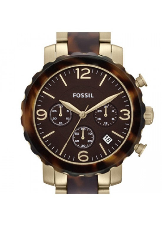Fossil Natalie Faux Tortoise Plastic Ladies Watch - JR1382-dial