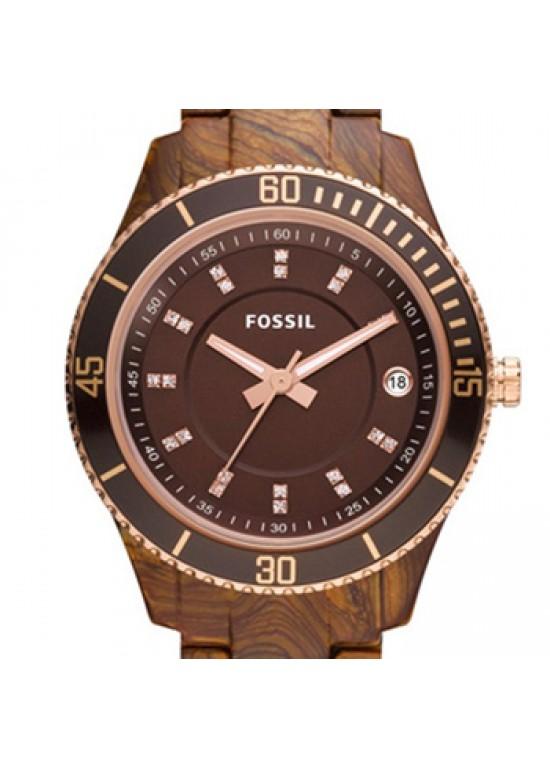 Fossil Stella Brown Plastic Ladies Watch - ES3088-dial