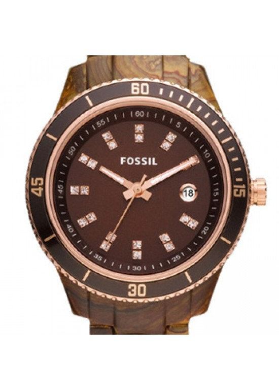 Fossil Stella Brown Plastic Ladies Watch - ES3092-dial