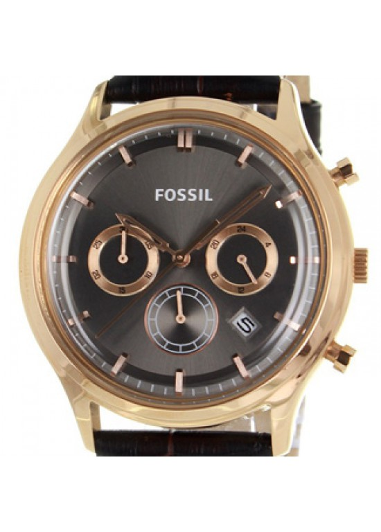 Fossil Ansel Rose Gold-Plated Stainless Steel Mens Watch - FS4639-dial