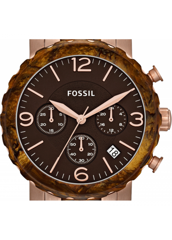 Fossil Natalie Faux Burlwood Ladies Watch - JR1385-dial
