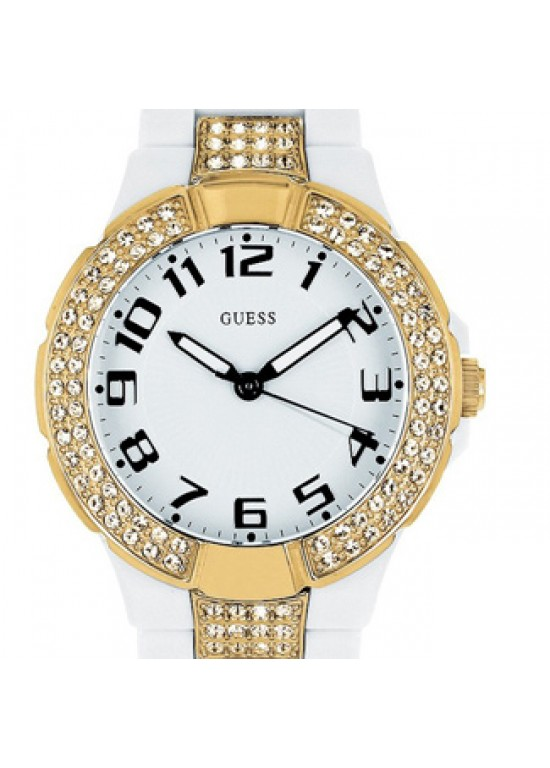Guess Prism White Plastic Case Set with Crystals Ladies Watch-W11611L1-dial