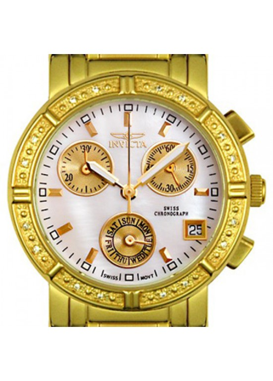Invicta Ladies Diamond Chronograph Goldplated Watch 4720-dial