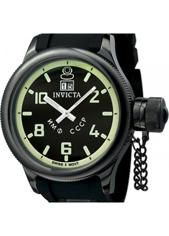 Invicta Mens Russian Diver QTZ Black Rubber Watch 4338-dial