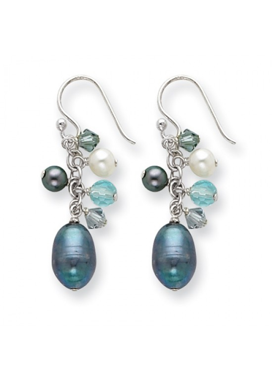 Multicolor SS Blue Crystal/Peacock & White FW Cultured Pearl Earrings