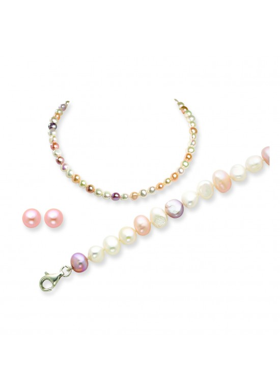 Multicolor SS Freshwater Cultured Pearl Earring/Bracelet/Necklace Set
