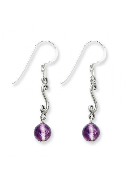 Purple Sterling Silver Amethyst Antiqued Dangle Earrings (QG-QE1333)