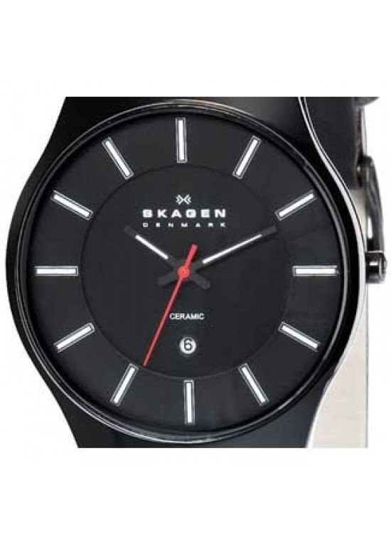 Skagen Ceramic Black Ceramic Mens Watch - 233XLCLB-dial