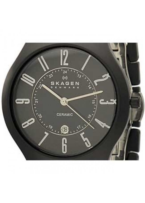 Skagen Ceramic Black Ceramic Mens Watch - 817LBXC-dial