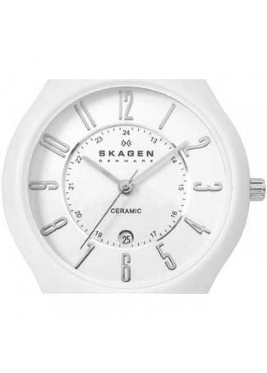 Skagen Ceramic White Ceramic Ladies Watch - 817LWXC-dial