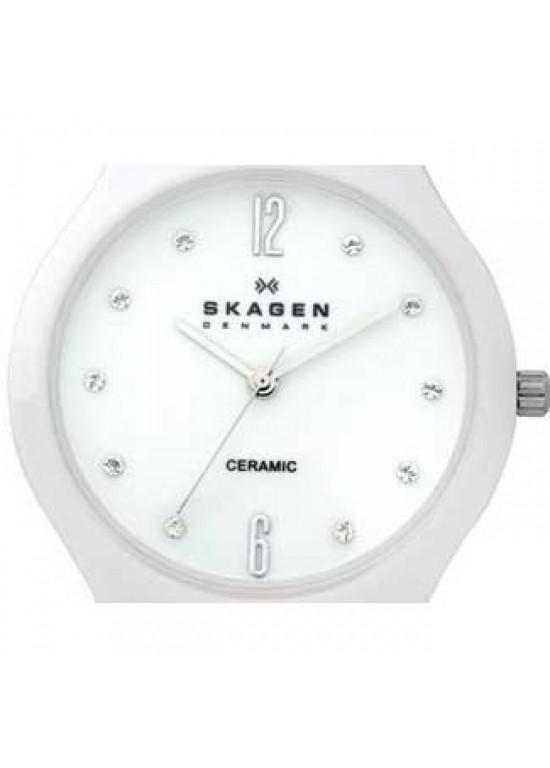 Skagen Ceramic White Ceramic Ladies Watch - 817SSXC-dial