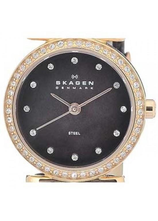 Skagen Leather Collection Swarovski SS Ladies Watch - 108SRLD-dial