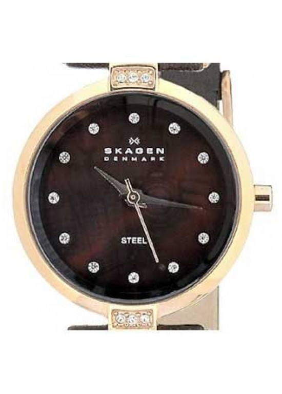 Skagen Leather Collection Swarovski SS Ladies Watch - 109SRLD-dial