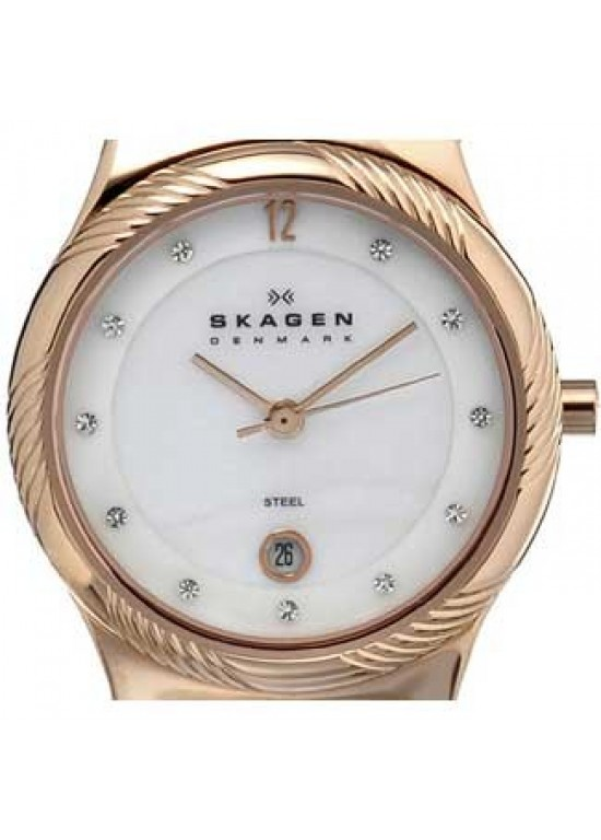 Skagen Leather Swarovski Stainless Steel Ladies Watch - 880LRLWR-dial