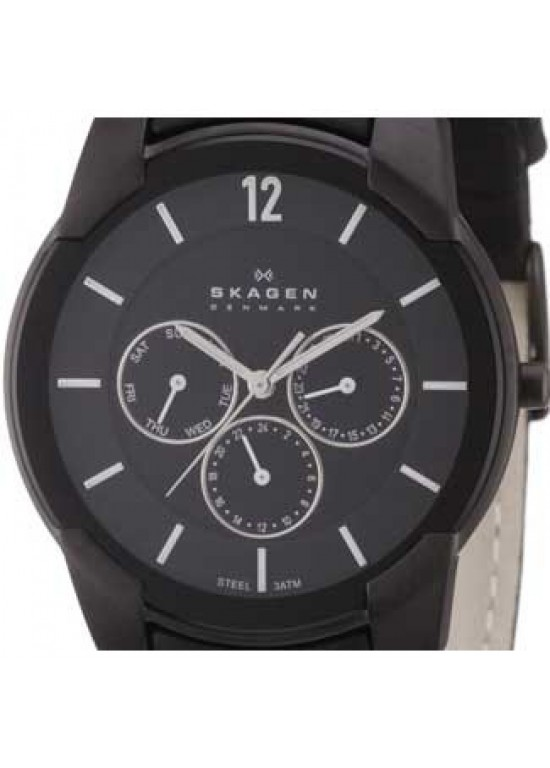 Skagen Leather Collection Swarovski SS Mens Watch - 856XLBLB-dial