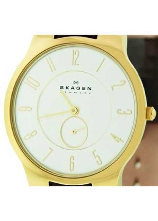 Skagen Slimline Gold Tone Stainless Steel Ladies Watch - 433LGL1-dial