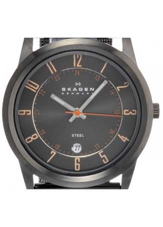 Skagen Steel Collection Black PVD Stainless Steel Mens Watch-124XLMMO-dial
