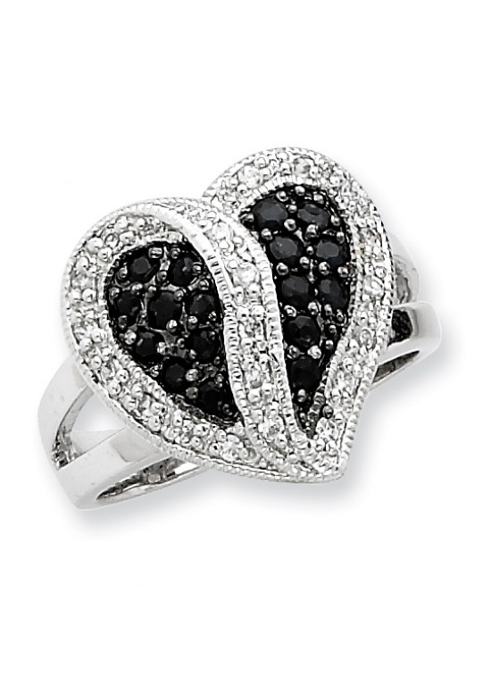 Sterling Silver Antiqued Black & Clear CZ Heart Ring