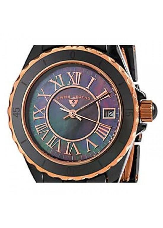 Swiss Legend Karamica Black Ceramic Ladies Watch - SL-20050-BKBRR-dial