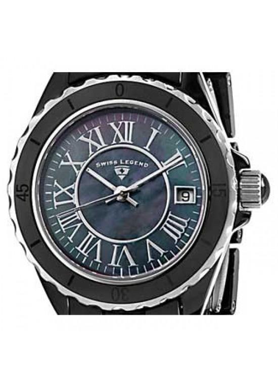 Swiss Legend Karamica Black Ceramic Ladies Watch - SL-20050-BKBSR-dial