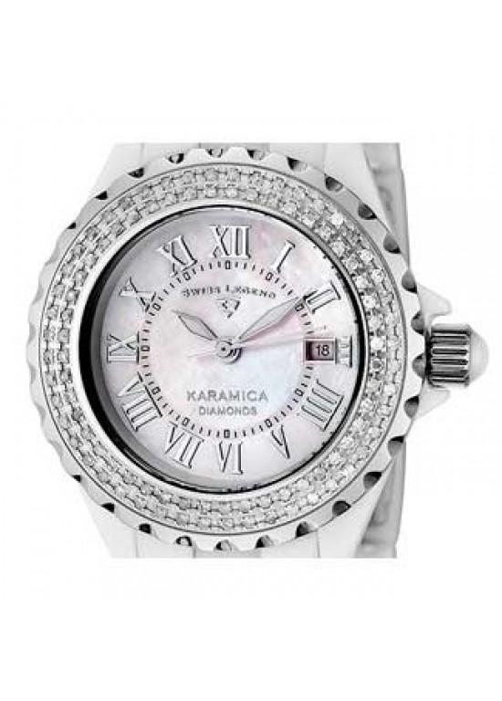 Swiss Legend Karamica White Ceramic Ladies Watch - SL-10051-WWSR-dial