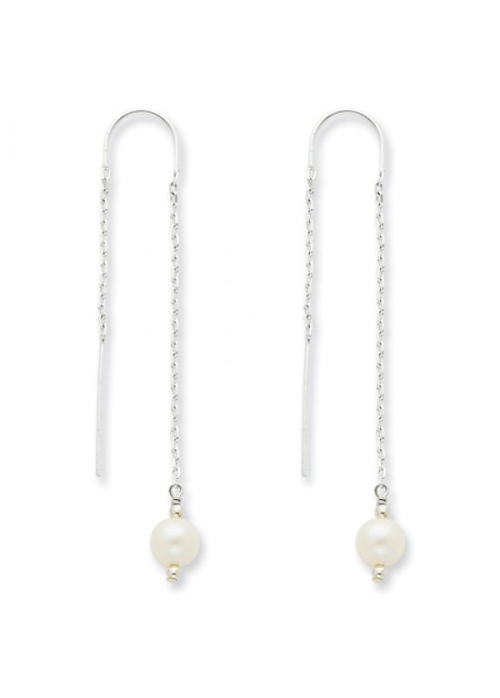 White Sterling Silver Cultured Pearl Threaded Earrings (QG-QE3853)