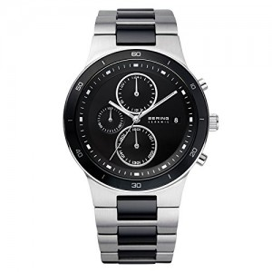 Bering Time 33341-742 Mens Black and Silver Chronograph Ceramic Watch