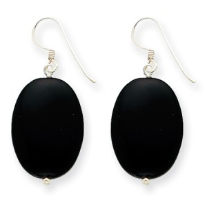 Black Sterling Silver Agate Earrings (QG-QE5468)