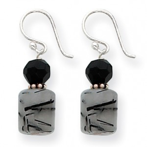 Black Sterling Silver Black Crystal & Tourmalinated Quartz Earrings