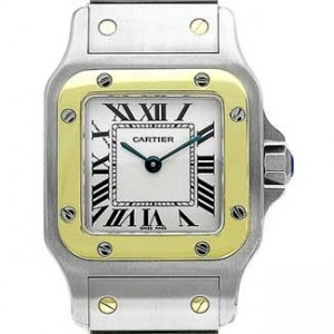 Cartier Santos Stainless Steel with 18kt Gold Ladies Watch - W20012C4-Dial