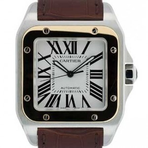 Cartier Santos Stainless Steel with 18kt Gold Mens Watch - W20072X7-dial