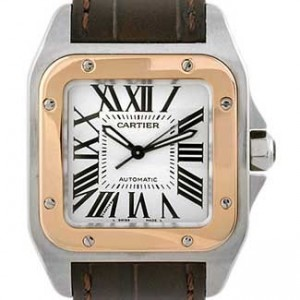 Cartier Santos Stainless Steel with 18kt Gold Mens Watch - W20107X7-dial