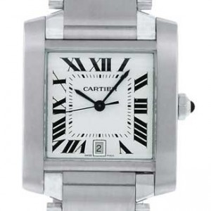 Cartier Tank Stainless Steel Mens Watch - W51002Q3-dial