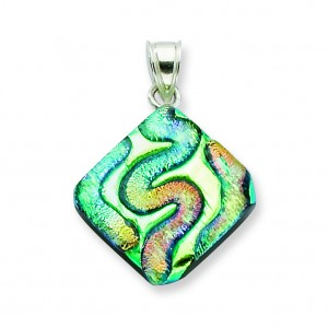Multicolor Dichroic Glass Diamond Pendant in Sterling Silver