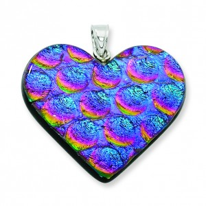 Multicolor Dichroic Glass Heart Pendant in Sterling Silver (QK-QC6586)