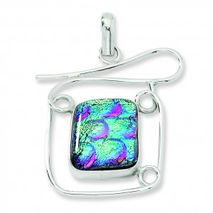 Multicolor Dichroic Glass Square Pendant in Sterling Silver(QK-QC6590)