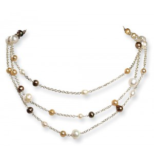Multicolor SS Cultured White/Golden/Champagne Pearl Necklace