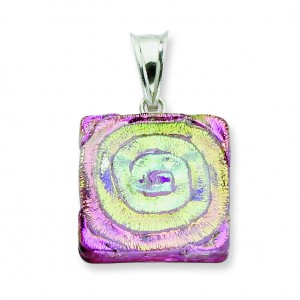 Pink Dichroic Glass Square Pendant in Sterling Silver (QK-QC6583)