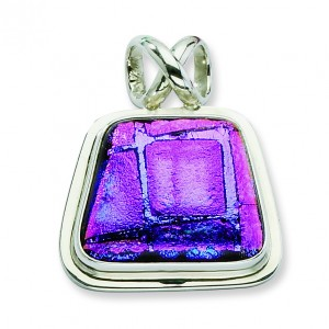 Purple Dichroic Glass Trapezoid Pendant in Sterling Silver (QK-QC6593)