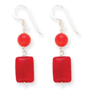 Red Sterling Silver Coral & Agate Earrings (QG-QE5596)