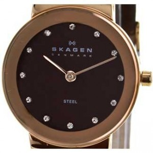 Skagen Glitz Rose Gold Ion Plated SS Ladies Watch - 358SRLD1-dial